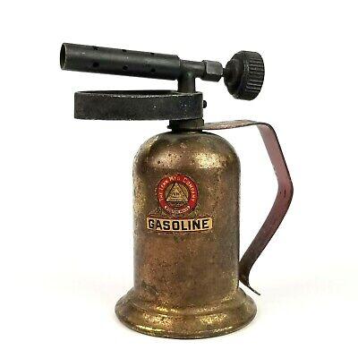 Vintage Lenk Manufacturing Company Small Gasoline Brass Blowtorch Bakelite Knob