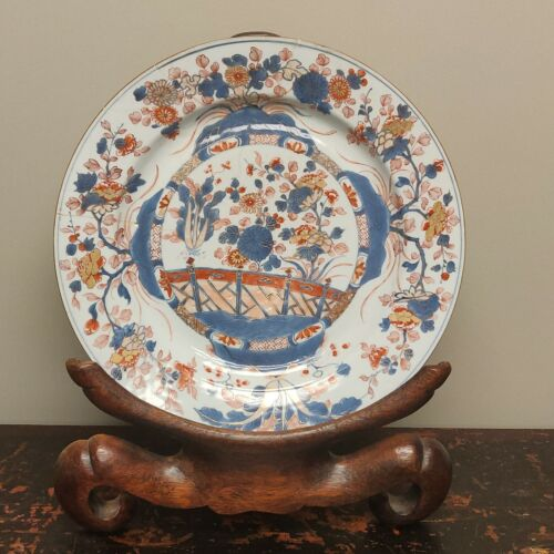 A LARGE CHINESE IMARI  CHARGER and WOODEN STAND