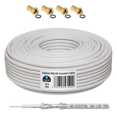10m Koaxialkabel 135dB SAT Antennenkabel Digital SAT Koax Kabel HDTV F-Stecker Antenne Koaxial Kabel