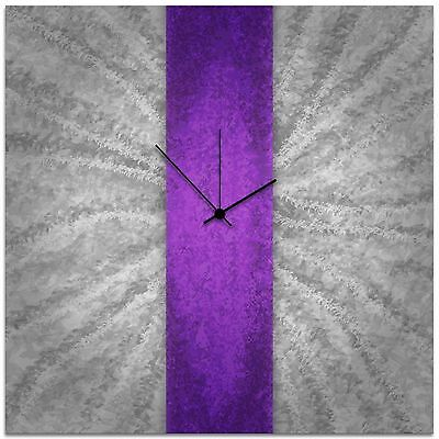 Modern Violet Silver Wall Clock Contemporary Purple Decor Large Artistic Metal