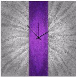 Modern Violet Silver Wall Clock Contemporary Purple Decor Large Artistic Metal