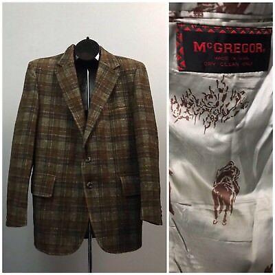 Vintage 70s Brown Plaid Button Up Blazer Sports Coat Novelty Horse Print Liner M