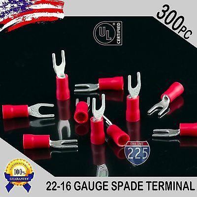 300 Pack 22-18 Gauge Vinyl Spade Fork Crimp Terminals 6 Stud Tin Copper Core Ul