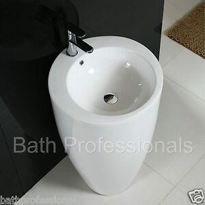 Basin Sink Bathroom Pedestal Ceramic Egg Pod Floor standing White Art Cloakroom