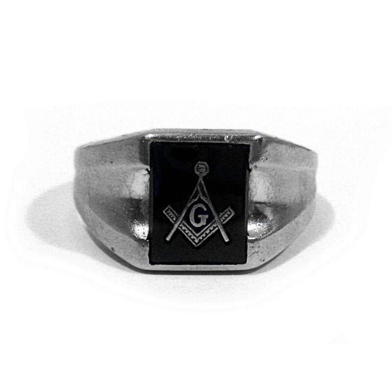 SOLID 10K WHITE GOLD SYNTHETIC SAPPHIRE MASONIC RING ~ SIZE 9 1/4