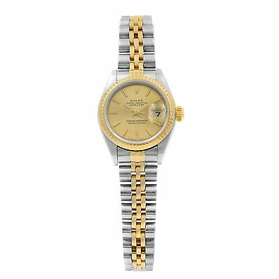 Rolex Datejust Gold Steel Champagne Dial Automatic Ladies Watch 79173