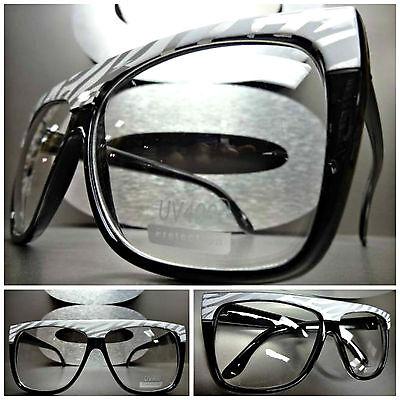 Damen Übergröße Vintage Retro Klarglas Brillen Schwarz Mode Fassung Zebra