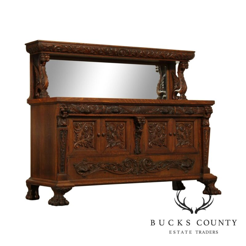 Antique Victorian Oak Winged Griffin Mirror Back Sideboard Buffet