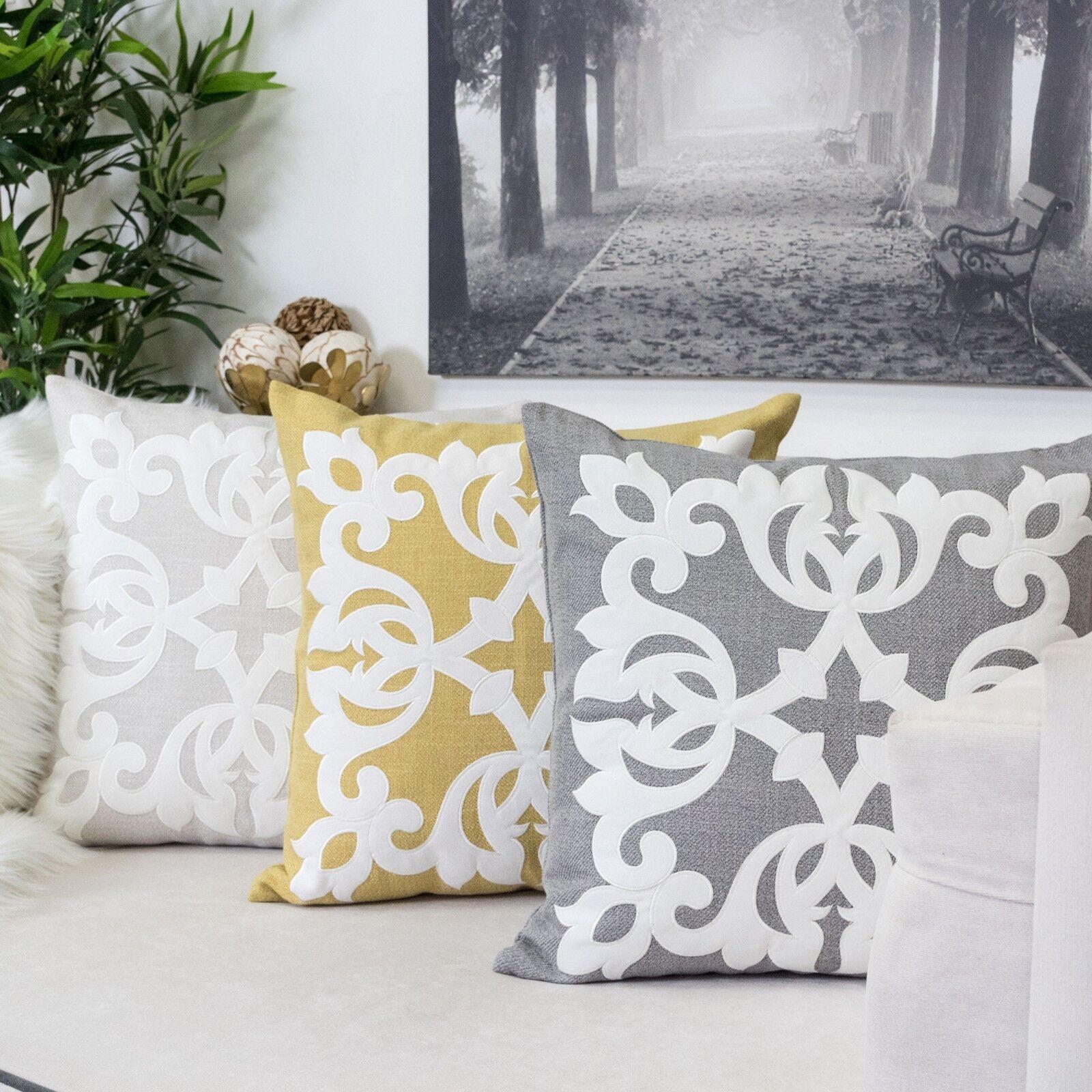 applique lima floral linen pillow cover large