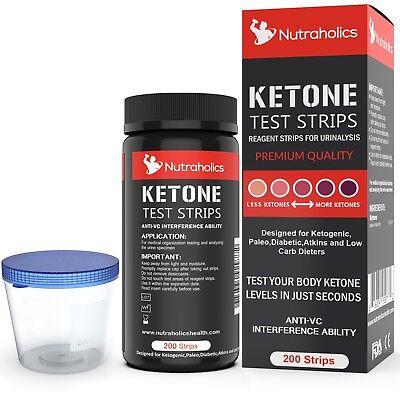 Ketone Strips 200 Strips Including Urine Cup (Ketone test strips)