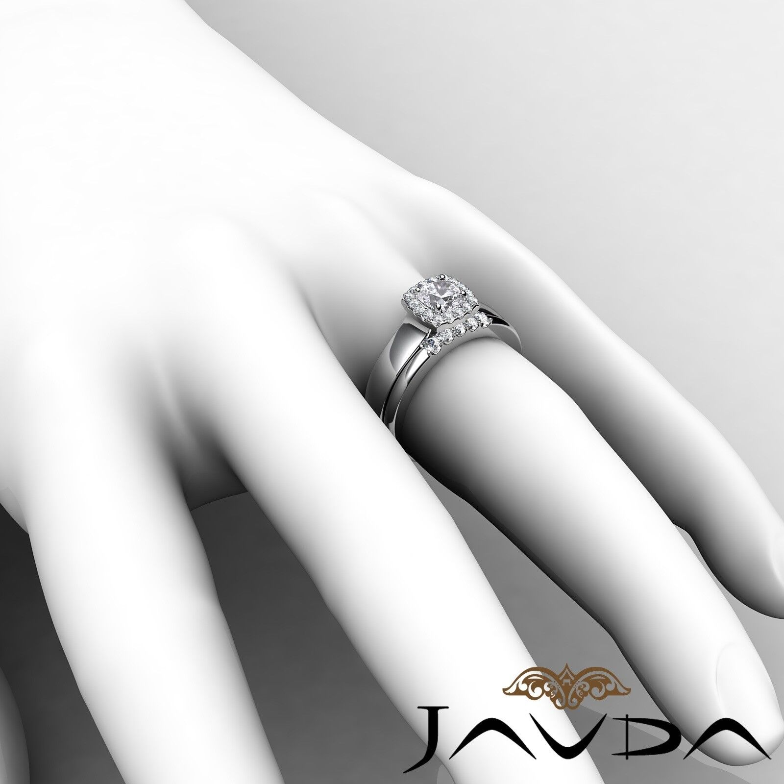 1.04ctw Solitaire Halo Bridal Cushion Diamond Engagement Ring GIA H-VS2 W Gold 6