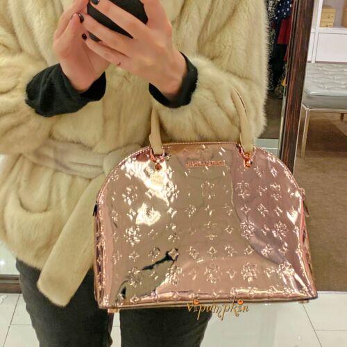 Michael Kors Emmy Large Dome Satchel Rose Gold Metallic Patent Pvc Glossy Bag