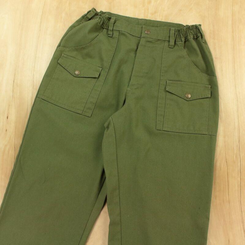 BOY SCOUTS OF AMERICA 6 pocket cargo uniform pants 28-34 elastic waist green vtg
