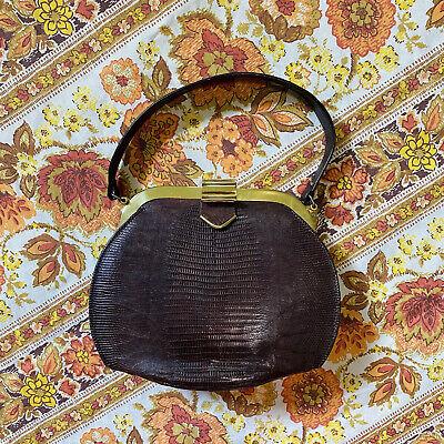 1950s Handbags, Purses, and Evening Bag Styles Vintage 1950s Brown Leather Handbag $48.00 AT vintagedancer.com