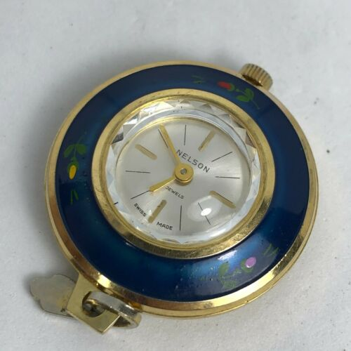 Nelson Womens Blue Gold Swiss Made Silver Dial Wind Up Pendant Watch