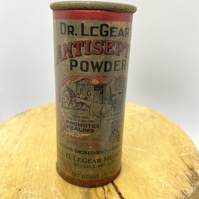 DR LEGEAR'S ANTISEPTIC POWDER - WEATHERED WORN COLLECTiBLE ADVERTISING TIN
