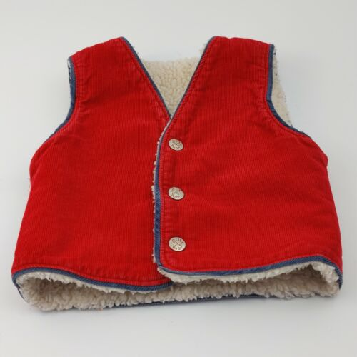 Vintage BILLY THE KID RED CORDUROY VEST Snaps, Faux Sherpa Lining, 4T, RARE