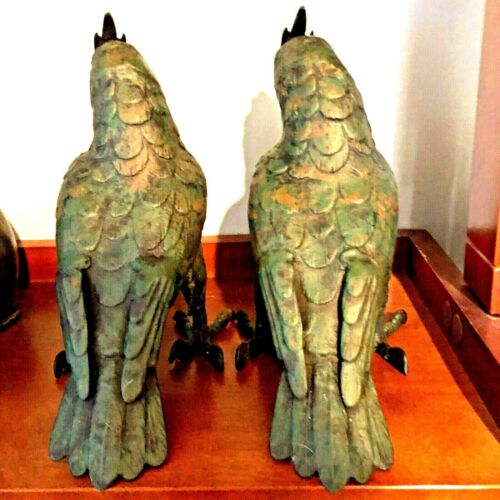 "PAIR Japan statue Bronze Iron Hawk bird Okimono Antique Meiji Tasho marked 10"""