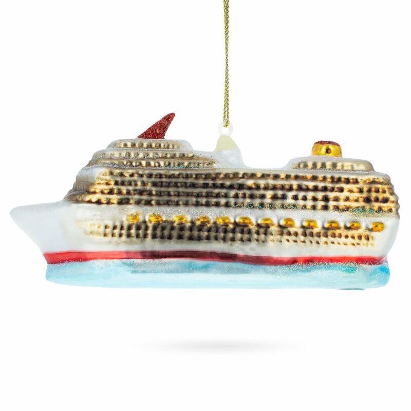 Cruise Ship Glass Christmas Ornament