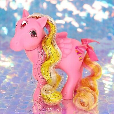 Vintage My Little Pony Brush 'n' Grow GLITTERING GEM Pink Hearts G1 MLP BG787