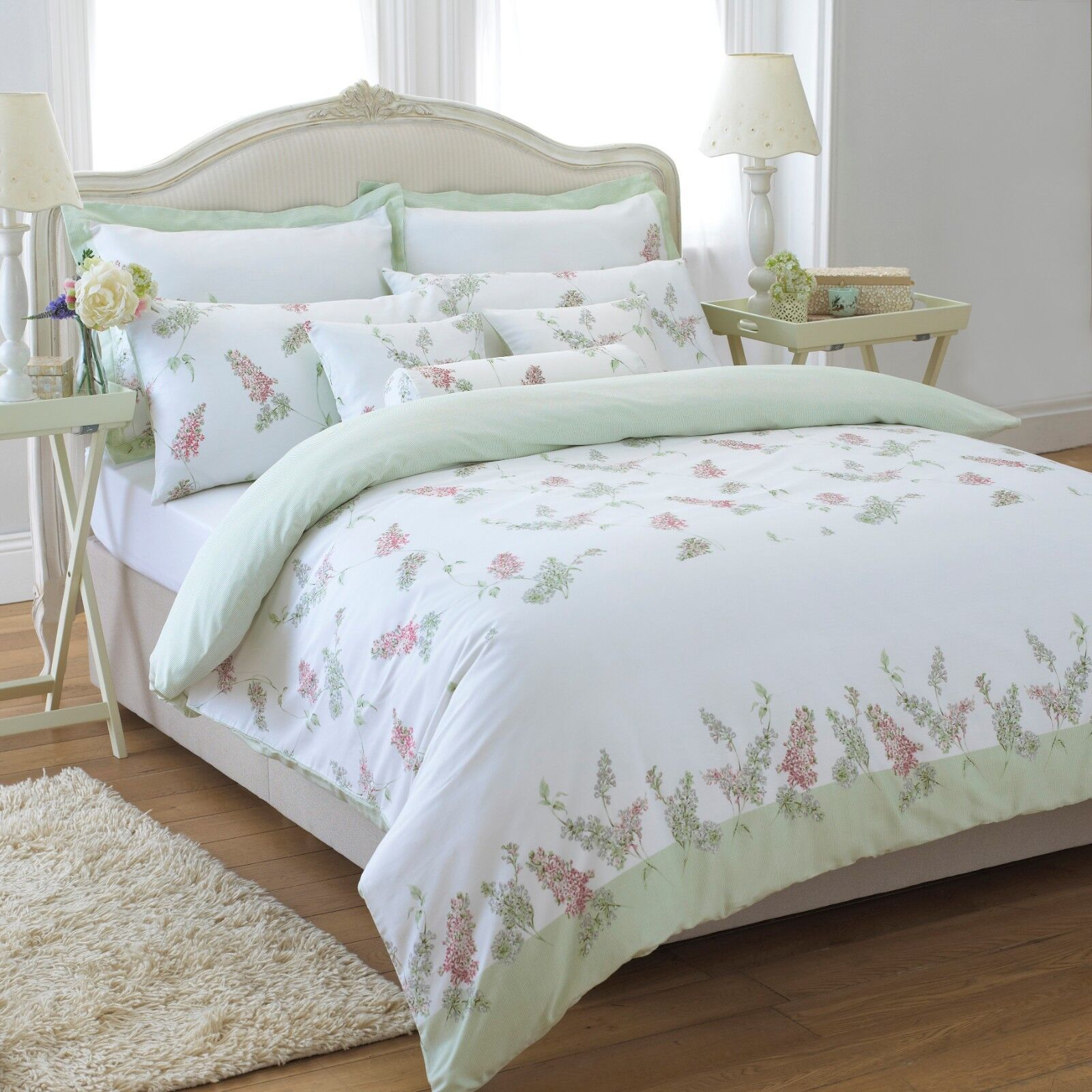 Floral Green Duvet Cover Set Single Double King Rose Bay Style