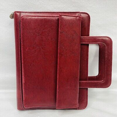 Franklin Covey 365 Dark Red Faux Leather Full Zip Around 7-ring Planner Handles