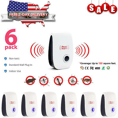 6Pack Ultrasonic Pest Repeller Control Electronic Repellent Mice Rat Reject 2018