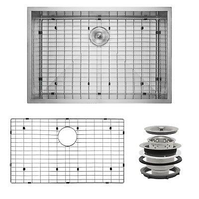 """33"""" x 22"""" x 9"""" Stainless Steel Undermount Single Kitchen Sink Dish Grid Drain"""