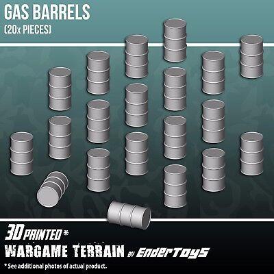 Gas Barrels, Terrain Scenery 28mm Miniatures Wargame, 3D Printed & Paintable