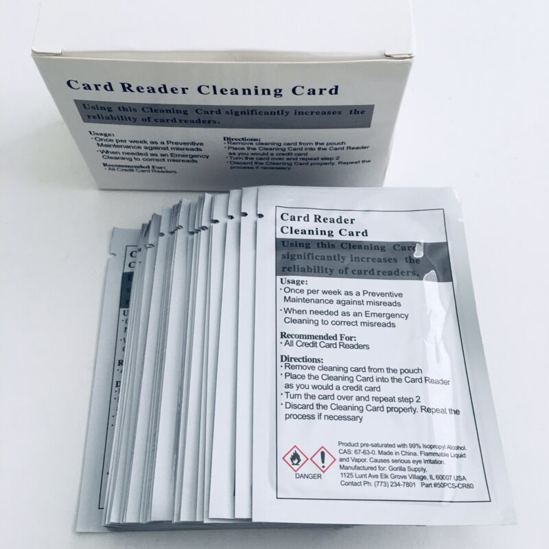 Card Reader Cleaner Cards Pack of 32 Pieces Universal Credit Card Machines