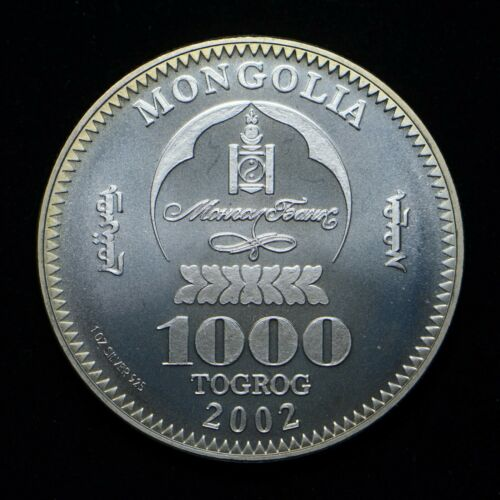 2002 Mongolia 1000 Togrog 1-oz .925 Silver BU++ (cn6959)