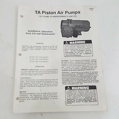 Thomas Ta Piston Air Pump Ta 2101 3101 4101 Install Operation Parts Maint Manual