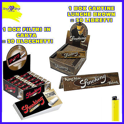 CARTINE SMOKING LUNGHE BROWN 1 box + Carta filtro Smoking Deluxe filtri 50 pz