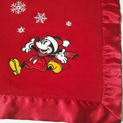 "Disney Store Mickey Mouse Fleece Blanket 29""x29"" Red Christmas Snowflakes Lovey"