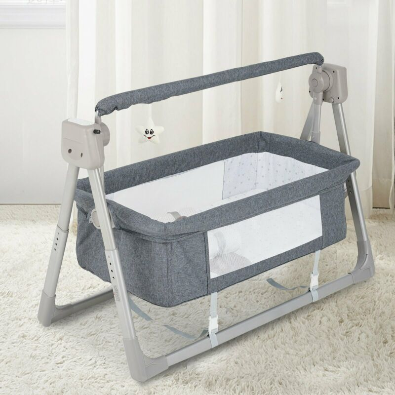 Electric Baby Bassinet Bedside Sleeper Swing Adjustable Crib with Mattress 5Core