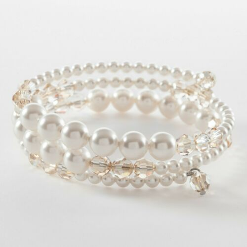 Touchstone Crystal Swarovski Pearl Wrap Bracelet