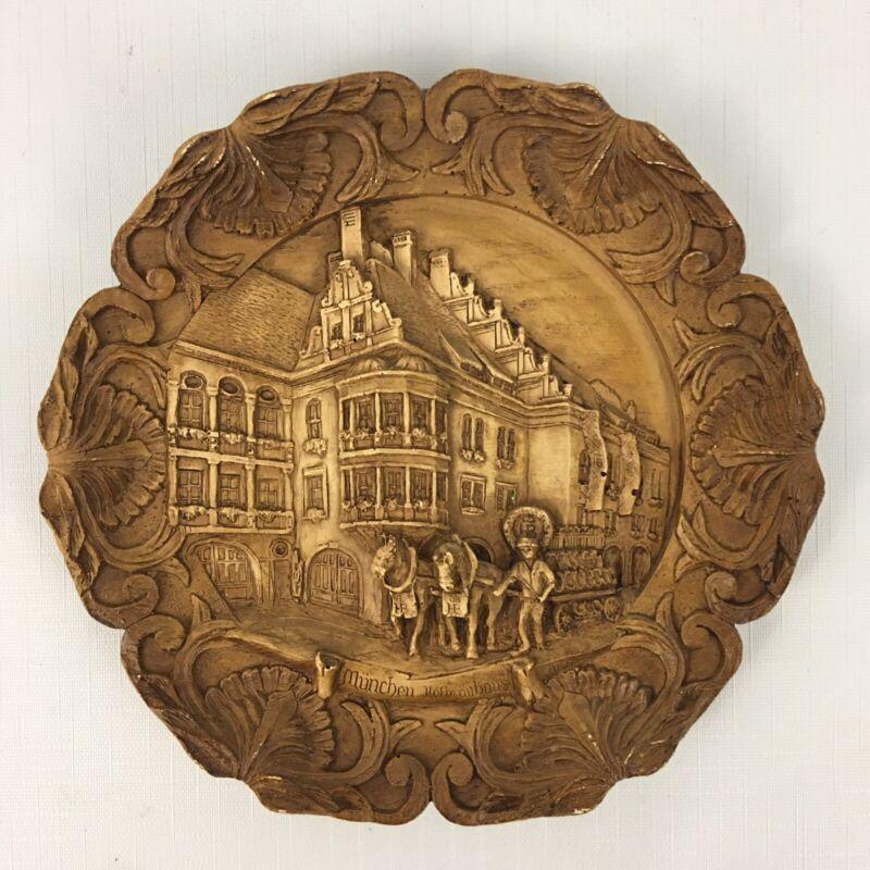 Vintage German Decorative Relief Plate - MUNICH TAVERN HOUSE Munchen Hofbrauhaus