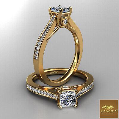 Princess Cut Diamond Engagement Trellis Channel Bezel Set Ring GIA E VS2 0.80Ct