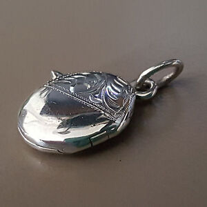 Silver Necklace Pendant Oval Locket Charm Sterling 925 (P060)
