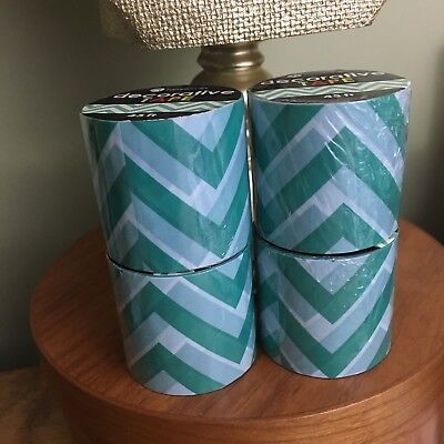 Decorative Plastic Packing Tape Lot Of 4 Rolls Blue Colorful Zigzag Print New
