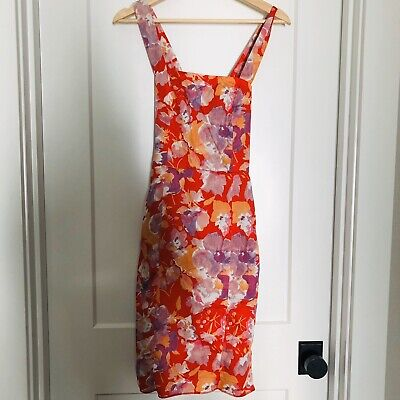 Zara Basic Womens Floral Dress Size Small Red Sleeveless Satin Lined