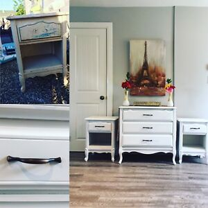 Refinished 'French Cottage' dresser and end tables