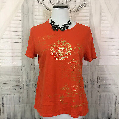 Used, LRL Lauren Jeans Company Womans Large Gold Print Knit Shirt Top Short Sleeve B26 for sale  Latham