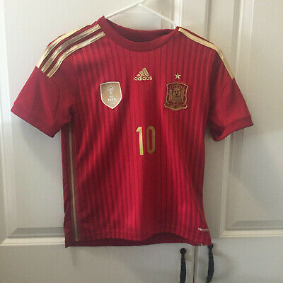 Adidas YOUTH Spain 2014 World Cup Soccer Home Jersey Boys Sz M Fabregas EUC! Adidas Spain Youth Home Jersey