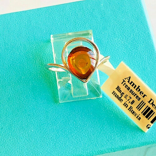 Genuine Baltic Russian Amber Ring Size 7,0  Vintage Butterscotch Egg Yolk Polish