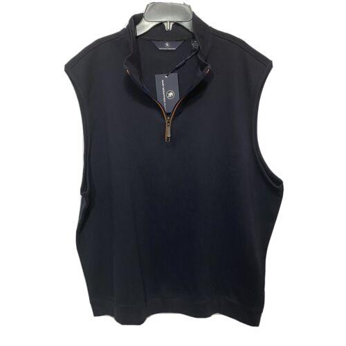 $125 Hart Schaffner Marx 1/4 Zip Sweater Vest Mock Pullover XL Golf Navy Blue Clothing, Shoes & Accessories