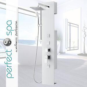 Luxus Glas Duschpaneel Amazonas IV Weiß Duschsäule Duschset 3 Massagedüsen
