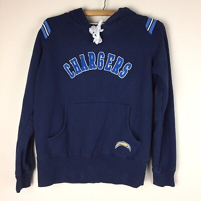 NFL CHARGERS youth hoodie sweatshirt Large kids blue lace up applique Touch o130 Youth Hoodie