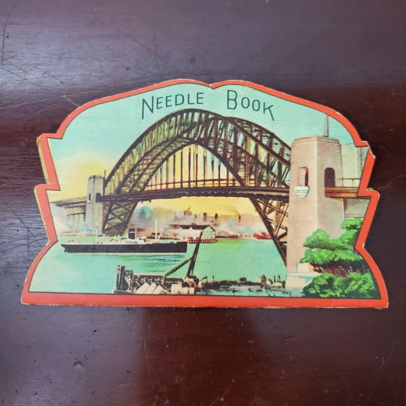Vintage Sewing Needle Book w/ Bridge Graphic Made in Occupied Japan c.1945-52