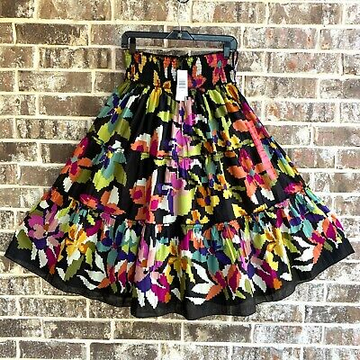 Chaudry Lined Black Purple Floral Boho Cotton Tiered Skirt, Size M Long Black Floral Skirt